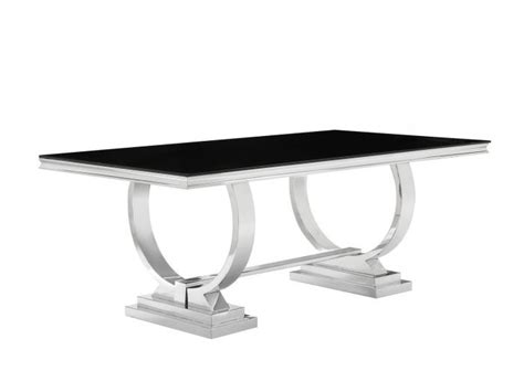 Dining Table Tempered Glass Antoine Black Tempered Glass Chrome Dining Table Set Shop For Affordable Home Furniture Decor