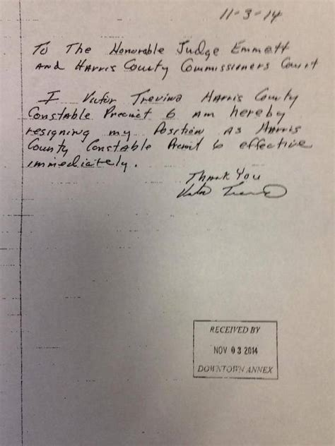 Polk County Resignation Letter Goes Viral Harris County Precinct 6 Constable Victor Trevino Pleads Guilty To Misapplication Of Fiduciary