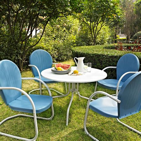 blue white outdoor metal retro  piece dining table chairs set patio furniture ebay