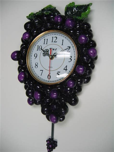 grape home decor 3d grape pendulum wall clock kitchen wine vineyard toscan