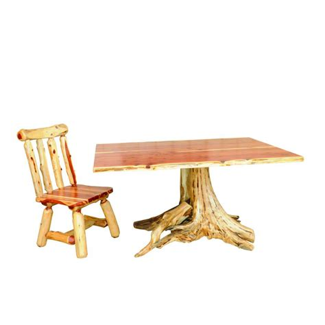 Dining Table With Root Base Red Cedar Live Edge Dining Table With Stump Base Amish