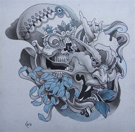 hannya mask tattoo deviantart tattoo design skull and hanya mask by xenija88 on deviantart