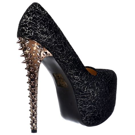 onlineshoe silver chrome spiked studded high heel black