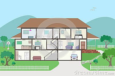 cross section of a house cutaway cross section house grouped and layered royalty
