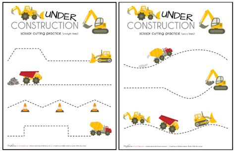printable toddler cutting activities construction truck scissor cutting practice sheets