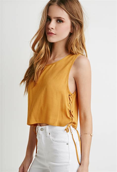Forever21 Mustard Crop forever 21 lace up crop top in yellow lyst