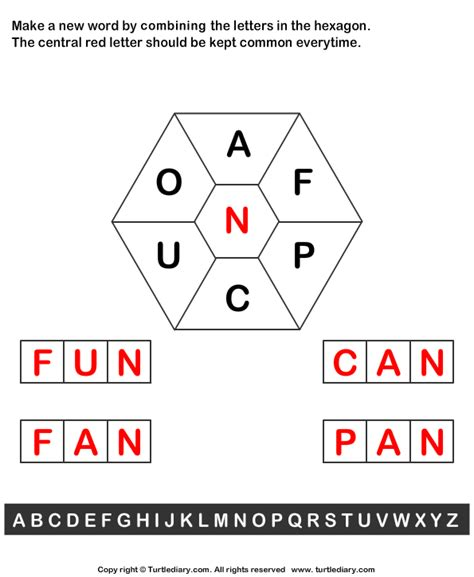 create words from letters make words using letters a f p c u o n worksheet turtle 1167