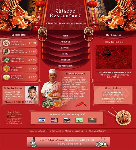 Chinese Restaurant Website Template 3115 Restaurant Website Templates