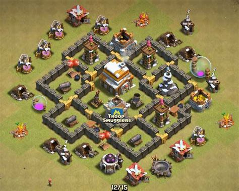 clash of clans town hall 5 farming defense best base layout clash of clans town hall 5 farming defense best base