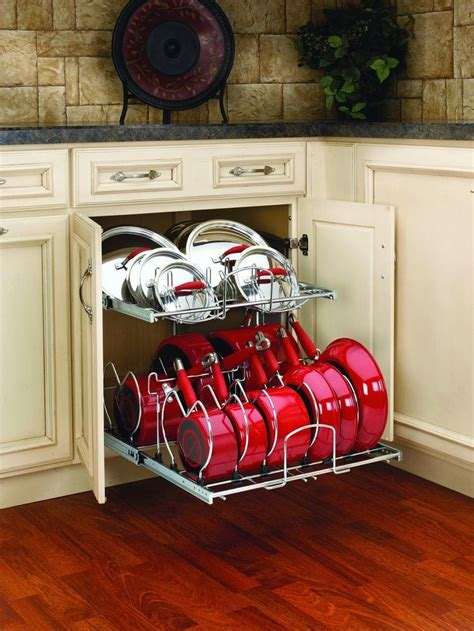 kitchen storage ideas for pots and pans pull out cabinet rack cookware organizer pots pans lids