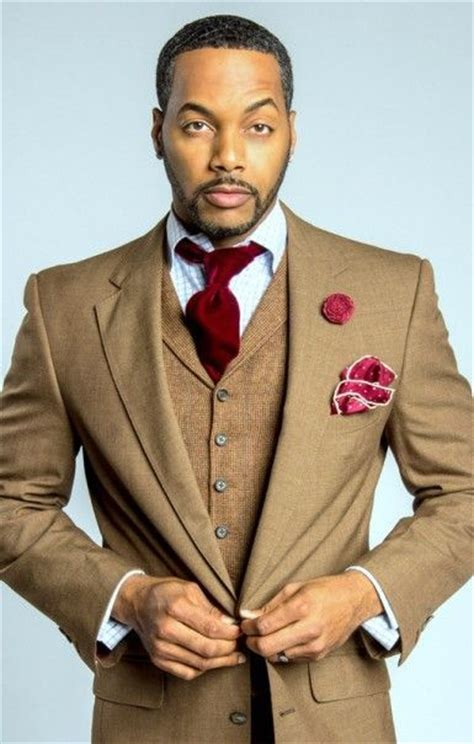Brown three piece suit with red tie   Mens Suits Tips