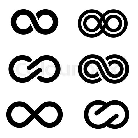 infinite tattoo vector vector black infinity icons set on white background