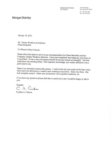 Character Reference Letter For Buying A House Letter Of Recomendation Cintron Windows Interiors Llc