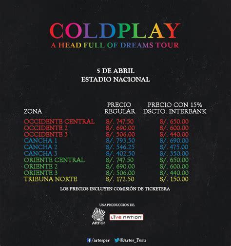 coldplay entradas coldplay en lima 2016 precios de entradas conciertos per 250