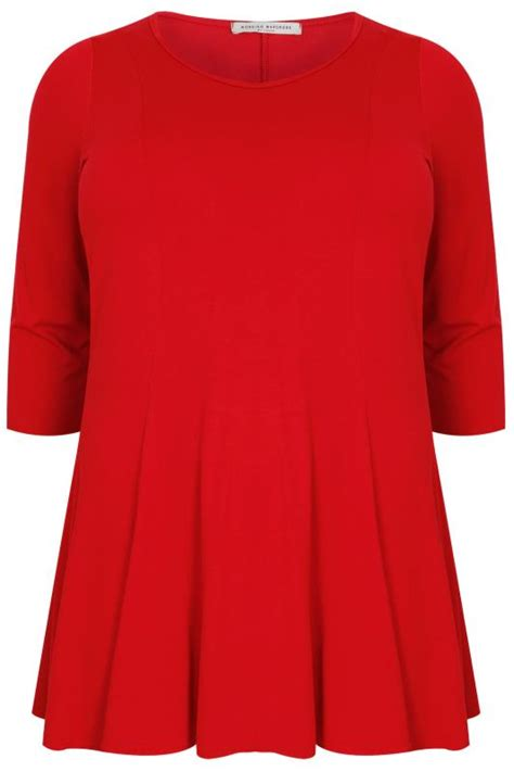red swing top red panelled peplum swing top plus size 16 to 36