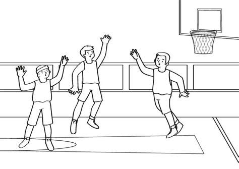 dibujos niños jugando baloncesto imprimir baloncesto dibujo para colorear e imprimir