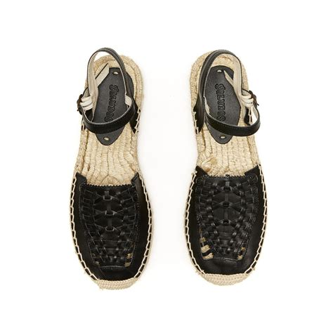 black huarache sandals lyst soludos leather platform huarache sandal in black