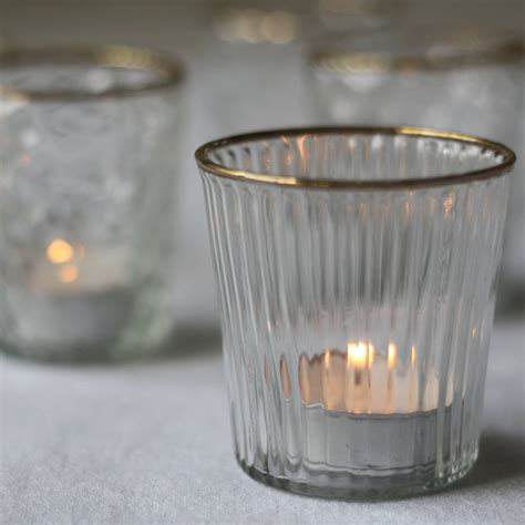 clear tea light holders clear glass tea light holder with gold by the wedding