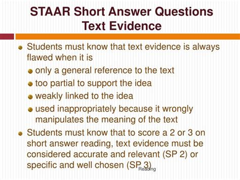 Or Question On Text Ppt State Of Assessments Of Academic Readiness Staar I Ii And Iii Reading