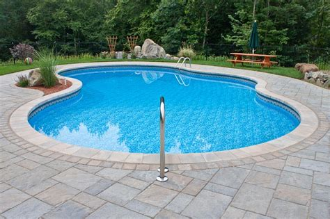 paver brick pool deck with brown concrete and pavers pool design options northern pool spa me nh ma