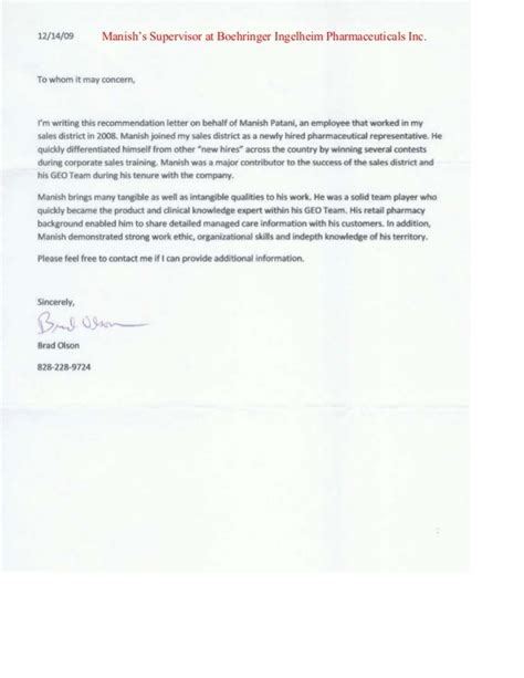Recommendation Letter For Sales Reference Letters