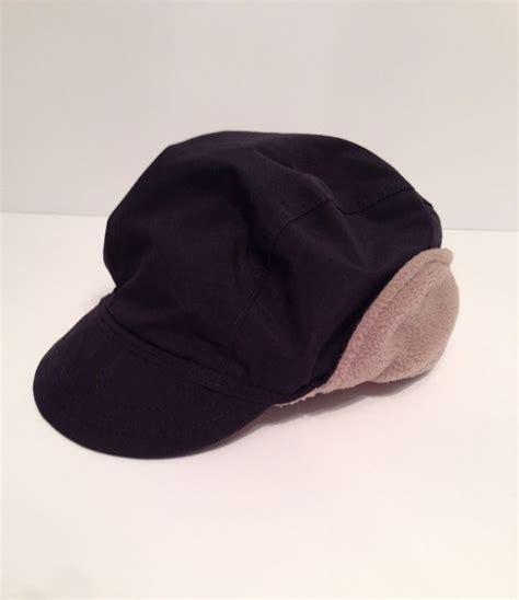 vtg ll bean mens black winter cap fleece lined oh162 hike