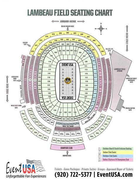 seating chart lambeau event usa packers tickets and packages lambeau