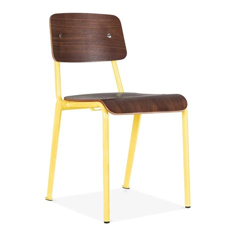 Cult living french school chair in yellow with wood option cult uk