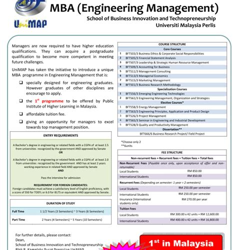 Mba Malaysia Fees by My Mba Journey Mba Engineering Management In Unimap