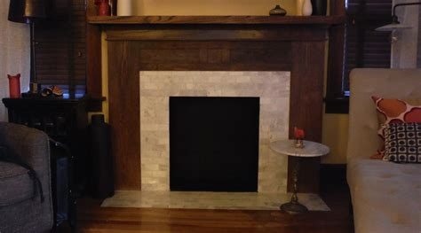 Before And After Fireplace Remodel by Fireplace Oak Mantel And Marble Tile Remodel Before
