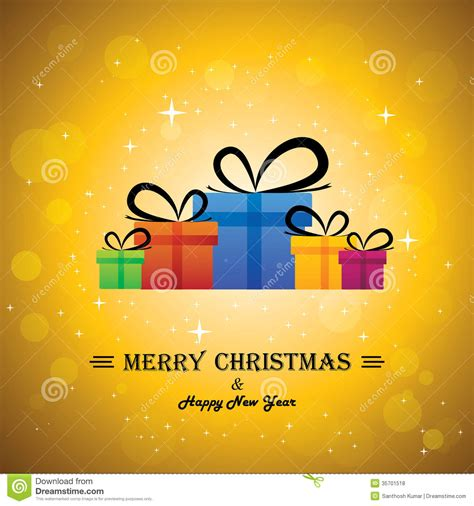 merry christmas happy new year with gifts conc stock