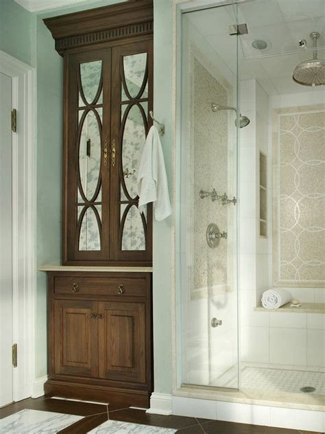 Bathroom Linen Closet Doors Built In Linen Closet In Bathroom Bed Bath Pinterest