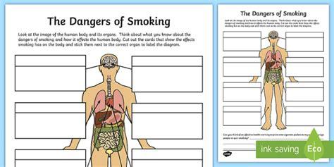 dangers  smoking labelling worksheet worksheet