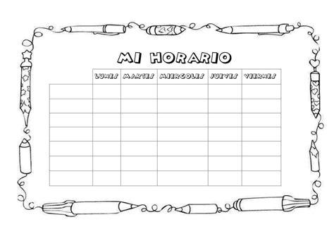 imagenes de utiles escolares a blanco y negro horario art 237 stico 2 dibujalia dibujos para colorear