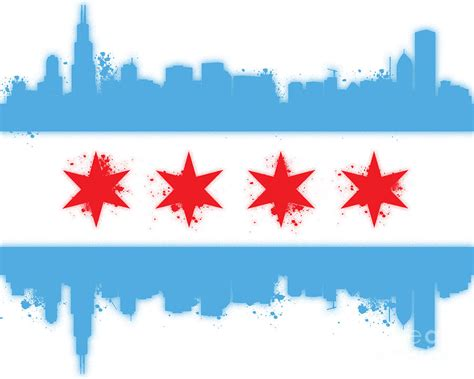 white chicago flag digital art by mike maher