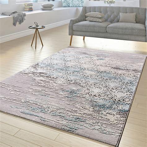 Kurzflor Teppich Blau by Teppich Wohnzimmer Florale Ornament Muster Kurzflor