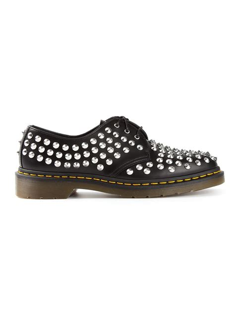 dr martens studded derby shoes in black for lyst