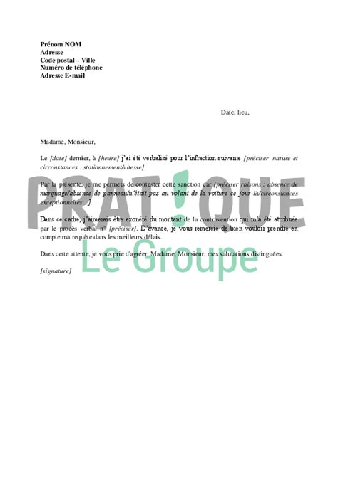 Lettre De Contestation De Contravention Pratique Fr