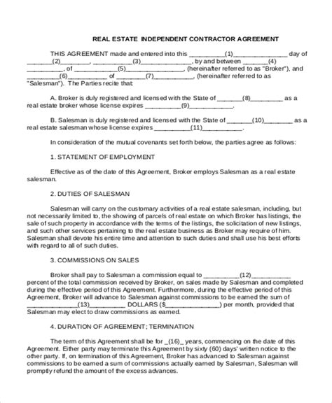 real estate independent contractor agreement template sle independent contractor agreement form 11 free