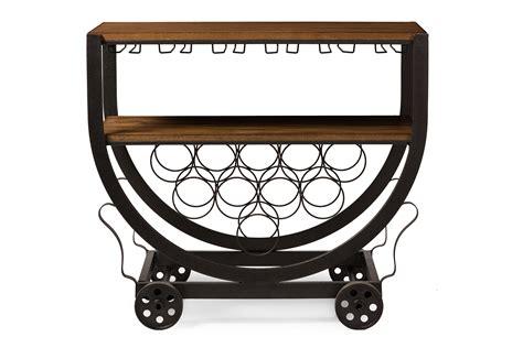 Baxton Studio Triesta Antiqued Vintage Industrial Metal & Wood Wheeled Wine Rack Cart