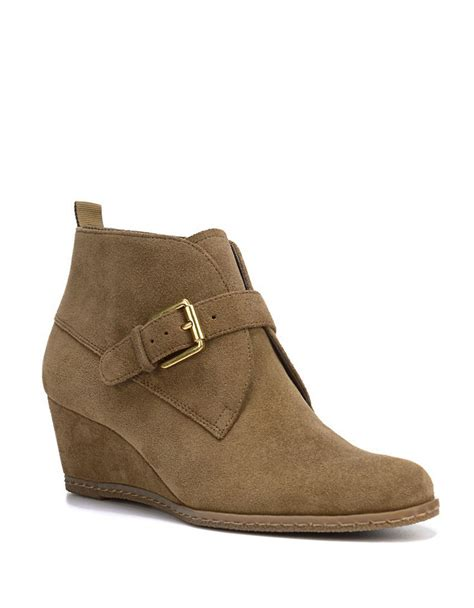 franco sarto amerosa suede wedge ankle boots in green lyst