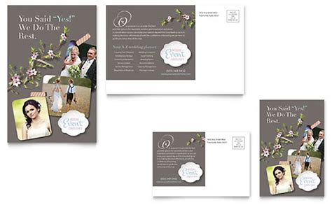 event post card template wedding event planning postcard templates word