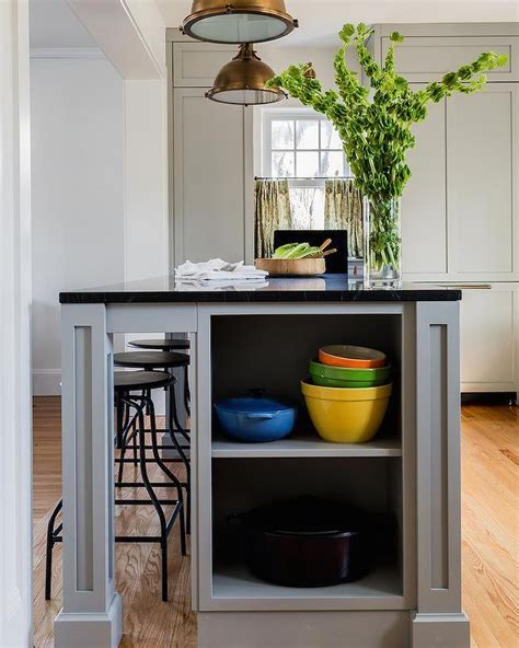 Grey Kitchen Island with End Shelves   Transitional   Kitchen
