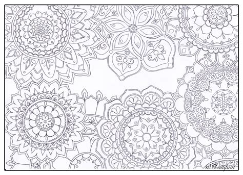 coloring pages stress free stress relief mandala flowers hattifant