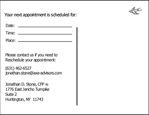 appointment reminder business card template 8 best images of appointment reminder postcard template