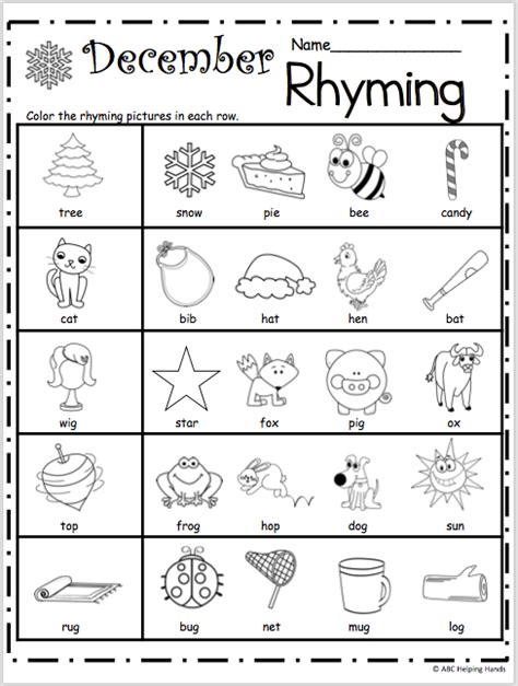 printable preschool rhyming activities free kindergarten rhyming worksheets for december