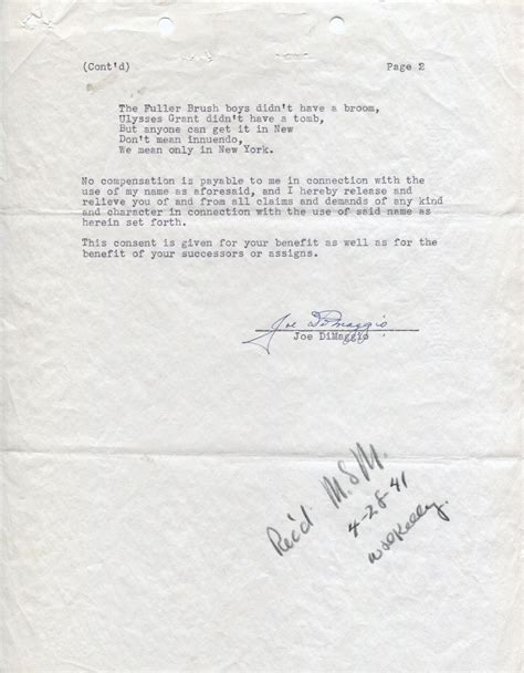 Endorsement Letter Of Items Lot Detail Joe Dimaggio Signed 1941 Endorsement Contract Yankees