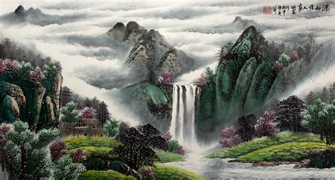 japanese landscape painting mountain valley waterfall landscape painting