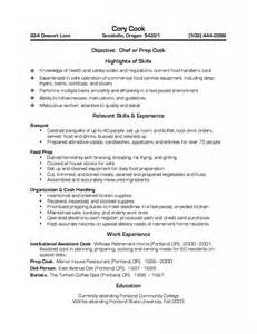 Resume Sle For Cook Position prep cook resume invitation sle resume