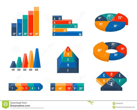chart and diagram charts diagrams and graphs in modern isometric 3d stock